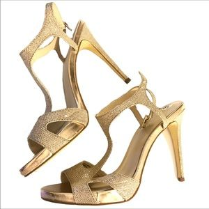 Guess Gold Sparkle Peep Toe Strappy Pumps Heels